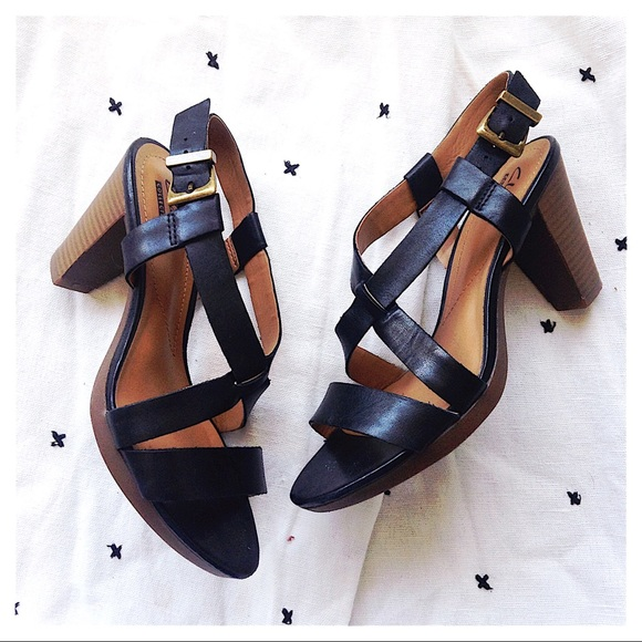 5d3aa2c31f6c Clarks Shoes - Clarks Jaelyn Fog Leather Strap Heeled Sandals